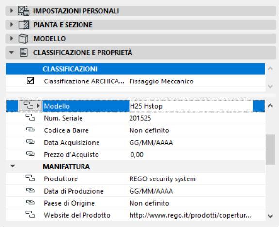 anticaduta BIM - classificazione dati produttore